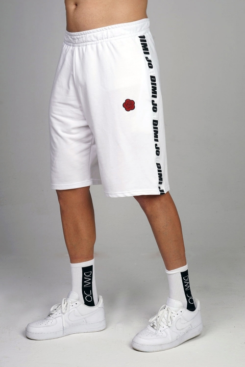 wide run shorts white